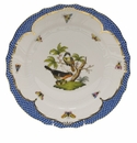 "Herend Rothschild Bird Blue Border Dinner Plate - Motif 02 10.5""D"