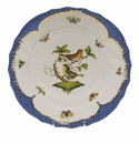 "Herend Rothschild Bird Blue Border Dinner Plate - Motif 03 10.5""D"