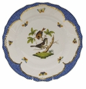 "Herend Rothschild Bird Blue Border Dinner Plate - Motif 05 10.5""D"