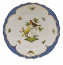 "Herend Rothschild Bird Blue Border Dinner Plate - Motif 06 10.5""D"