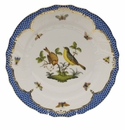 "Herend Rothschild Bird Blue Border Dinner Plate - Motif 07 10.5""D"