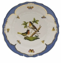 "Herend Rothschild Bird Blue Border Dinner Plate - Motif 08 10.5""D"