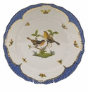 "Herend Rothschild Bird Blue Border Dinner Plate - Motif 09 10.5""D"