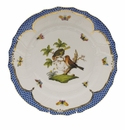"Herend Rothschild Bird Blue Border Dinner Plate - Motif 10 10.5""D"