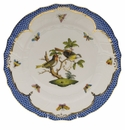 "Herend Rothschild Bird Blue Border Dinner Plate - Motif 11 10.5""D"