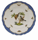 "Herend Rothschild Bird Blue Border Dinner Plate - Motif 12 10.5""D"