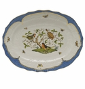"Herend Rothschild Bird Blue Border Platter  17""L X 12.5""W"