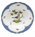 "Herend Rothschild Bird Blue Border Rim Soup - Motif 01 9.5""D"