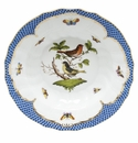 "Herend Rothschild Bird Blue Border Rim Soup - Motif 02 9.5""D"