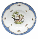 "Herend Rothschild Bird Blue Border Rim Soup - Motif 03 9.5""D"