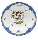 "Herend Rothschild Bird Blue Border Rim Soup - Motif 04 9.5""D"