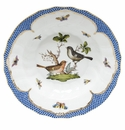 "Herend Rothschild Bird Blue Border Rim Soup - Motif 05 9.5""D"
