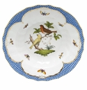 "Herend Rothschild Bird Blue Border Rim Soup - Motif 06 9.5""D"