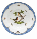 "Herend Rothschild Bird Blue Border Rim Soup - Motif 08 9.5""D"