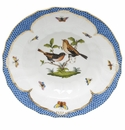 "Herend Rothschild Bird Blue Border Rim Soup - Motif 09 9.5""D"