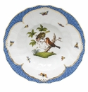 "Herend Rothschild Bird Blue Border Rim Soup - Motif 10 9.5""D"