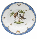 "Herend Rothschild Bird Blue Border Rim Soup - Motif 12 9.5""D"