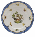 Herend Rothschild Bird Blue Border Salad Plate - Motif 02 7.5""