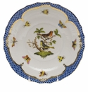 Herend Rothschild Bird Blue Border Salad Plate - Motif 03 7.5""