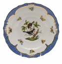 Herend Rothschild Bird Blue Border Salad Plate - Motif 04 7.5""