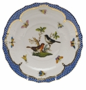 Herend Rothschild Bird Blue Border Salad Plate - Motif 05 7.5""
