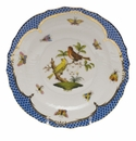 Herend Rothschild Bird Blue Border Salad Plate - Motif 06 7.5""