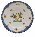 Herend Rothschild Bird Blue Border Salad Plate - Motif 07 7.5""