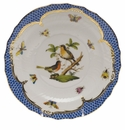 Herend Rothschild Bird Blue Border Salad Plate - Motif 08 7.5""