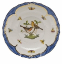 Herend Rothschild Bird Blue Border Salad Plate - Motif 09 7.5""