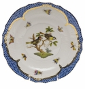 Herend Rothschild Bird Blue Border Salad Plate - Motif 11 7.5""