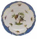 Herend Rothschild Bird Blue Border Salad Plate - Motif 12 7.5""