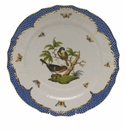 "Herend Rothschild Bird Blue Border Service Plate - Motif 03 11""D"