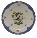 "Herend Rothschild Bird Blue Border Service Plate - Motif 04 11""D"