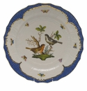 "Herend Rothschild Bird Blue Border Service Plate - Motif 05 11""D"