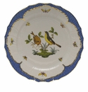 "Herend Rothschild Bird Blue Border Service Plate - Motif 07 11""D"