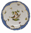"Herend Rothschild Bird Blue Border Service Plate - Motif 08 11""D"
