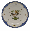 "Herend Rothschild Bird Blue Border Service Plate - Motif 09 11""D"