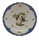 "Herend Rothschild Bird Blue Border Service Plate - Motif 12 11""D"