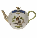 "Herend Rothschild Bird Blue Border Tea Pot With Bird (36 Oz) 5.5""H"