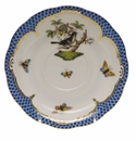 "Herend Rothschild Bird Blue Border Tea Saucer - Motif 01 6""D"