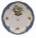 "Herend Rothschild Bird Blue Border Tea Saucer - Motif 02 6""D"