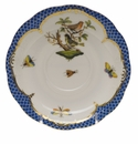 "Herend Rothschild Bird Blue Border Tea Saucer - Motif 03 6""D"