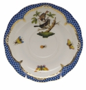 "Herend Rothschild Bird Blue Border Tea Saucer - Motif 04 6""D"