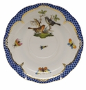 "Herend Rothschild Bird Blue Border Tea Saucer - Motif 05 6""D"