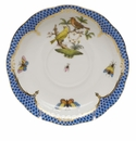 "Herend Rothschild Bird Blue Border Tea Saucer - Motif 06 6""D"