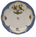 "Herend Rothschild Bird Blue Border Tea Saucer - Motif 07 6""D"