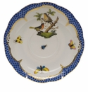 "Herend Rothschild Bird Blue Border Tea Saucer - Motif 08 6""D"
