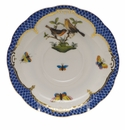 "Herend Rothschild Bird Blue Border Tea Saucer - Motif 09 6""D"