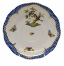 "Herend Rothschild Bird Blue Border Tea Saucer - Motif 10 6""D"