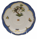 "Herend Rothschild Bird Blue Border Tea Saucer - Motif 11 6""D"